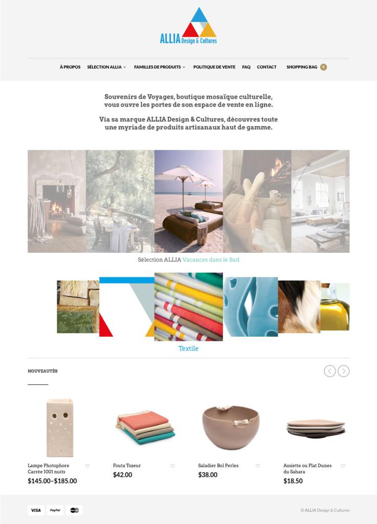 Agitatrice de solutions - Projet Allia Design & Cultures - Web - Vente en ligne - Page d'accueil