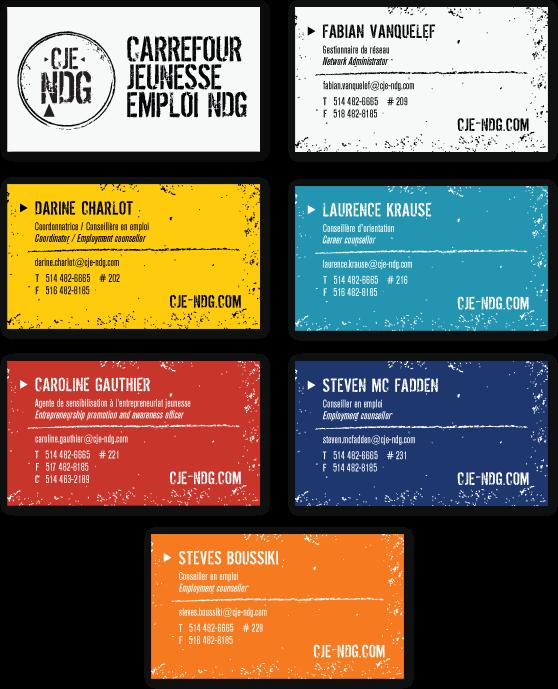 Agitatrice de solutions - Projet CJE NDG - Branding - Imprimés - Carte d'affaires