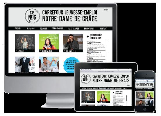 Agitatrice de solutions - Projet CJE NDG - Branding - Web - Responsive