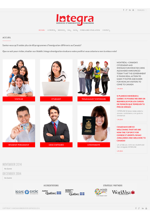Agitatrice de solutions - Projet Integra services immigration canadiens - Branding - Web - Page d'accueil
