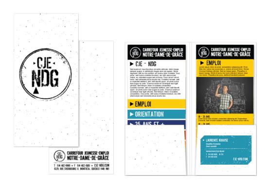 Agitatrice de solutions - Projet CJE NDG - Branding - Imprimé - Pochette dépliants Partenaires